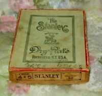 """Glass Plates(10) In Original Dry Plate Box 4X5"""" The Stanley Rochester N Y USA"""