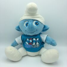 "Clumsy Smurf Build A Bear T-shirt Plush Stuffed Toy 17"" Blue Crew Smurfs Movie"