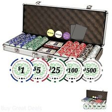 500 Chips Poker Dice Chip Set Texas Holdem Cards W/ Aluminum Case New