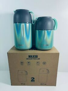 MAXSO 2 Pack Vacuum Insulated Food Jar Containers - 23.7oz,17oz - Rainbow Green