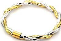 "14K Flex Yellow White Gold Twisted Bangle Bracelet AR Italy Stamped 7.5"" #20344"