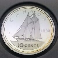 1998 Proof Canada 10 Ten Cent Dime Sterling Silver Canadian Coin C606