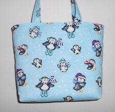 Handmade Christmas Sweet Penquins with Hats & Scarves Tote Purse Bag