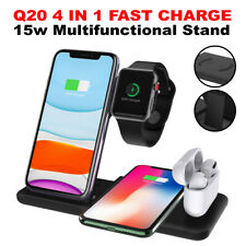 4in1 15W Qi Wireless Fast Charger Dock Stand For iPhone 11 Xs Watch AirPods Pro