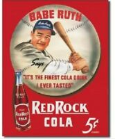 Babe Ruth Red Rock Cola Baseball MLB Distressed Retro Vintage Metal Tin Sign New