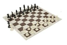 "Regulation Black & White Chess Pieces & 20"" Brown Vinyl Board - Single Weight"