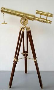 DOUBLE BARREL ASTRO NAUTICAL BRASS WOODEN TRIPOD TELESCOPE COLLECTIBLE GIFT DECO