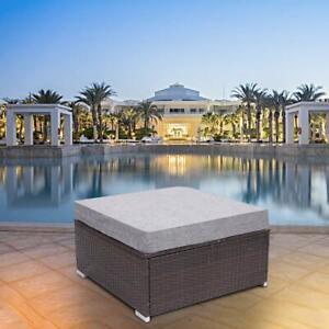 1 Pc Patio Rattan Ottoman All Weather Outdoor Wicker Furniture w/ Cushion Gray
