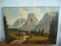 Altes Gemälde von Georg KUBOTH Pfandlhof mit Wilder Kaiser, Kaisergebirge