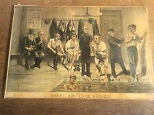 Antique Original Tom Merry Political Cartoon Lithograph c1880 Liberal Union Bath