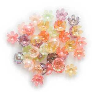 50Pcs Mixed AB Acrylic Spacer Flower Beads Caps Jewelry Making Findings 14mm