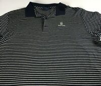 East Lake Polo Shirt VTG 90s Mens L/XL Striped Golf Club Course Cotton Navy Blue