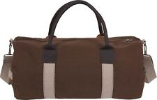 Brown Two Tone Canvas & Leather Mini Duffle Shoulder Gym Bag - 19""