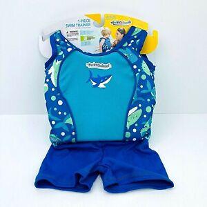 Aqua Leisure Boys 1 Piece Swim School Trainer Shark Print Top 33-55 Pounds
