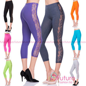 Cropped 3/4 Length Soft Cotton Leggings with Lace Womens Active Pants LPL34