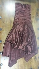 CHARAS DESIGNER WEAR BROWN SATIN CORSET HANKY HEM PROM DRESS SIZE 8 WORN ONCE