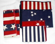 Longaberger All American 2 Fabric Napkins Red White Blue 23051 Stars New