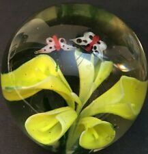 Glass Sphere Round Paper Weight with Flower and Butterflies
