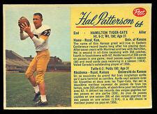 1963 POST CFL FOOTBALL #64 HAL PATTERSON NM HAMILTON TIGER CATS UNIV OF KANSAS