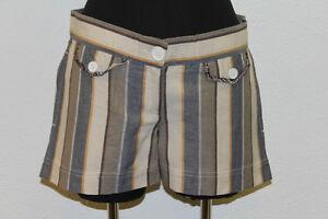 BEN SHERMAN Women's Flint Striped 100% Cotton Mini Shorts GT6007 Size M $80 NEW