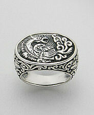 Solid Sterling Silver Phoenix Ring Size 6-1/2  Intricate Detail 12.2g Fenghuang