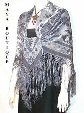 Piano Shawl Wrap Scarf Silk Burnout Velvet Silver Gray Maya Matazaro