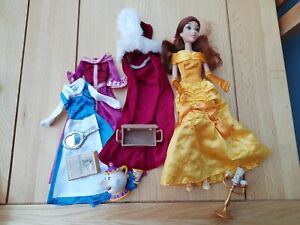 Disney Store Beauty & The Beast Belle Doll + 4 Outfits + Chip/Lumiere & Ms potts
