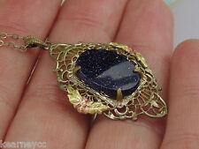 VINTAGE ANTIQUE BLUE GOLDSTONE GOLD WASH FILIGREE PENDANT NECKLACE