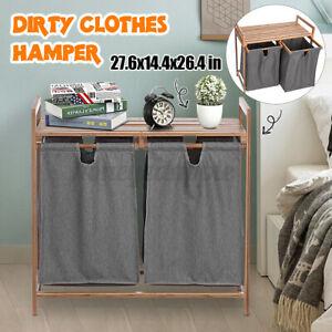 Laundry Box Wooden Bathroom Storage Basket Clothes Cabinet Hampers Washa