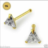 Nose Bone Stud 9K Carat Genuine Gold 3mm Triangle Claw Set Gem Pin 22g 6mm