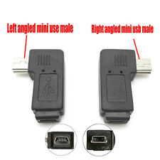 2x Mini USB Male to Female Extension Adapter Right / Left Angled Connector Plug