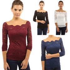 Cold Off Shoulder Lace Solid Shirt Womens Top Blouse Long Sleeve
