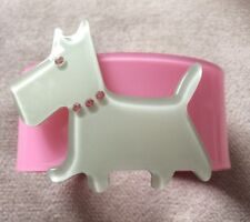 Lucite Cute Scottie Dog Bangle With Crystal Detailing