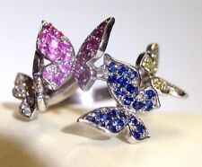 Sweet+Whimisical Diamond + Multi Sapphire 14K White Gold Butterfly Flock Ring