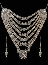Pearl Vintage Victorian Wedding Necklace Natural Rose Cut Diamond Polki &