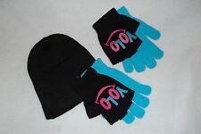 Girls Winter 1 pr Aqua Gloves 1 pr Black Yolo Smile fingerless 1 Knit Hat Black