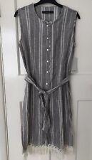 Zara Rustic Grey Stripe Linen & Cotton Tie Belt Long Tunic Top Size 10 12 M