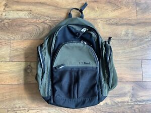 VTG. LL Bean Olive Green Backpack Hiking Travel Rucksack Carry All With Zippers