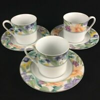 Set of 3 VTG Cups and Saucers by Mikasa of California Magic Garden Fruit Flowers