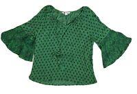 ROCKMANS Women Tassel Boho Gypsy Style Top Flared Sleeve Green Size 16