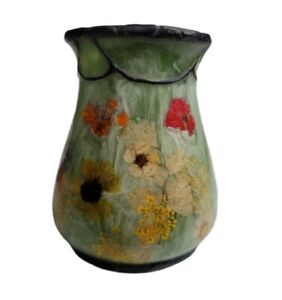 India Ink Fresh Fields Toothbrush Holder Retro Green Floral Dried Flowers Vtg