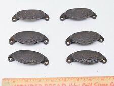 6 Fancy Victorian Cast Iron Bin Drawer Pulls, Patent 1873