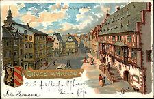 HANAU Litho-Prägekarte 1901 Marktplatz Wappen Goldschrift-Prägung Künstlerkarte