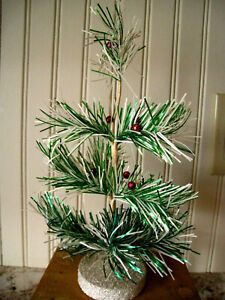 """SMALL CHRISTMAS TREE TINSEL GREEN WHITE ARTIFICIALTABLE TOP 10"""" JAPAN"""