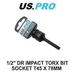 """US PRO Tools 1/2"""" DR Impact Torx Bit Socket T45 X 78MM 3404"""