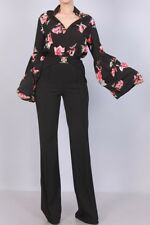 MANGO Black Red Floral Puff Bell Sleeve Bodysuit Top Blouse Shirt S M