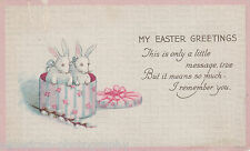 My Easter Greetings - 1921 * Bunny Rabbits * Pussy Willow * Winsted Connecticut