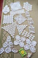 Lot of 17 Vintage Antique White Ivory Crochet Lace Doily Doilies