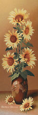 """43"""" WALL JACQUARD WOVEN TAPESTRY Sunflowers Bouquet FLORAL EURO YELLOW PICTURE"""