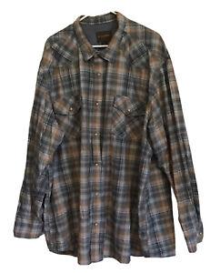 Northwest Territory Pearl Snap Western Flannel Button Up Shirt Men's XXXLT 3XLT